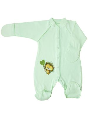 Комбинезон нательный для малышей Веселый малыш. Цвет: светло-зеленый