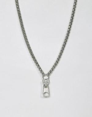 ASOS Серебристое ожерелье. Цвет: серебряный