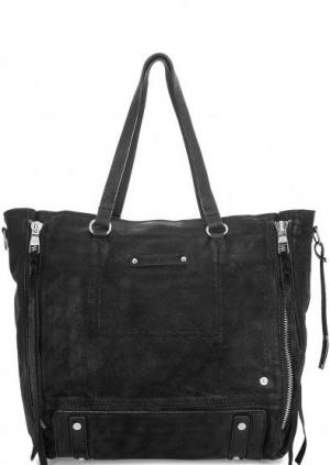 Вместительная замшевая сумка с длинными ручками Tyoulip Sisters. Цвет: черный