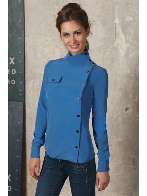 Блуза С кнопками Вестетика. Цвет: голубой, синий
