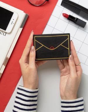 Lulu Guinness Кожаная кредитница в виде конверта. Цвет: черный
