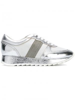 Металлизированные кроссовки на шнуровке Steffen Schraut. Цвет: металлический