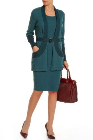 Комплект: кардиган, платье Luisa Spagnoli. Цвет: зеленый