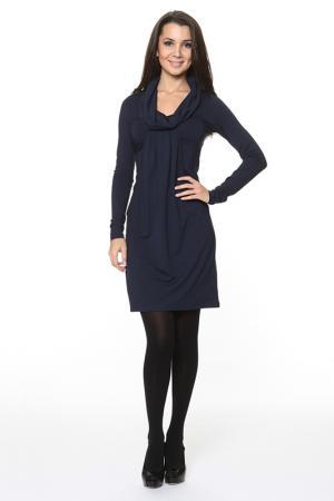 Прямое платье с воротником-хомут Piamente. Цвет: синий