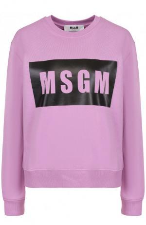 Хлопковый свитшот свободного кроя с логотипом бренда MSGM. Цвет: сиреневый