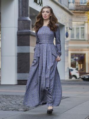 Платье длинное, в клетку Hello Russia
