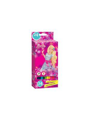 Карандаши цветные Barbie 24 цвета Mattel. Цвет: розовый