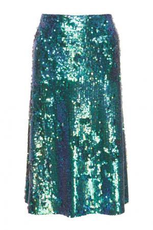 Юбка с пайетками Nimph VIKTORIA IRBAIEVA. Цвет: голубой, зеленый