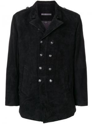 Двубортное пальто John Varvatos. Цвет: чёрный