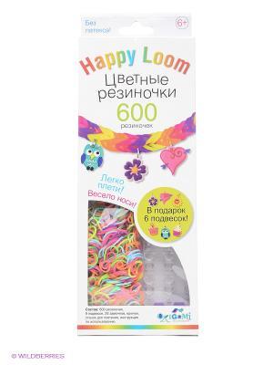 Цветные резиночки. Набор в коробке. Happy Loom. Цвет: фиолетовый, оранжевый, желтый