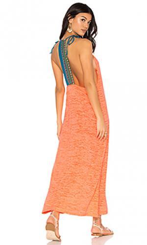 Платье с открытой спиной inca Pitusa. Цвет: оранжевый