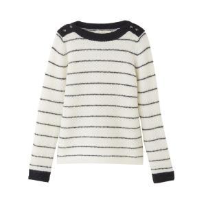 Пуловер с круглым вырезом из тонкого трикотажа SEE U SOON. Цвет: экрю в полоску