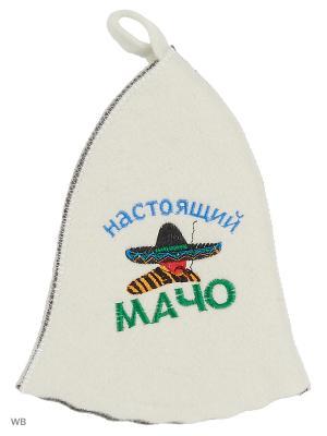 Шапка для бани с вышивкой в косметичке Настоящий мачо Метиз. Цвет: белый, серый
