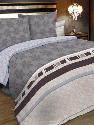 Комплект постельного белья, евро, бязь, пододеяльник на молнии Letto. Цвет: бежевый, серый