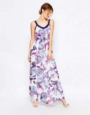 Uttam Boutique Платье макси с цветочным принтом. Цвет: синий