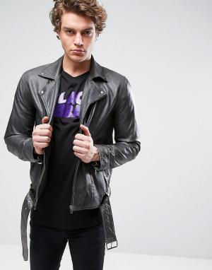 ASOS Кожаная байкерская куртка цвета хаки с поясом. Цвет: зеленый