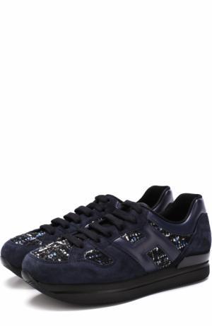Замшевые кроссовки с вышивкой Hogan. Цвет: синий