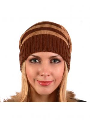 Полосатая шапка Непростые вещи. Цвет: коричневый, светло-коричневый