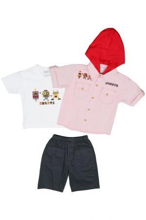 Футболка, рубашка, шорты Ohm&Emmy. Цвет: красный, серый