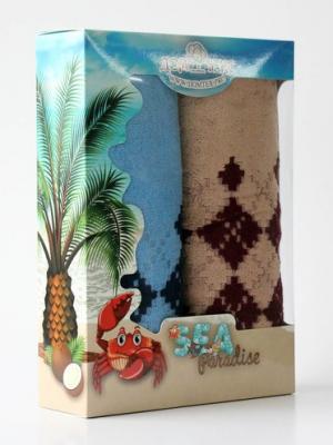 Набор махровых полотенец орнамент Домтекс. Цвет: бордовый, синий
