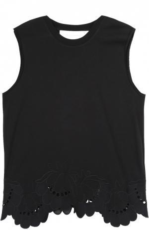 Топ прямого кроя без рукавов с кружевной отделкой Victoria by Beckham. Цвет: черный