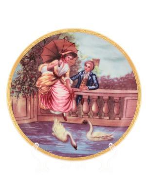 Тарелка Влюбленные на мосту Elan Gallery. Цвет: коричневый, голубой, розовый, белый, синий
