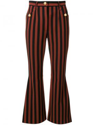 Полосатые брюки с пуговицами-собаками Dolce & Gabbana. Цвет: коричневый