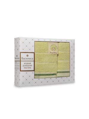 Комплект полотенец махровых гладкокрашеных с бордюром Sweety Barbara, 50х90см-1шт, 70*130см-1шт. Василиса. Цвет: салатовый
