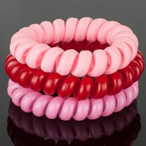 Комплект Резинок-Пружинок для волос 3 шт/уп, арт. РПВ-319 Бусики-Колечки. Цвет: розовый