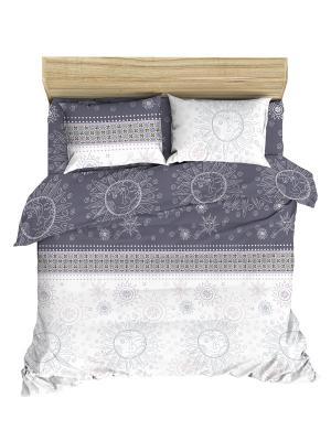 Комплект постельного белья Последний богатырь из ранфорса 1,5 спальный Василиса. Цвет: серый, белый