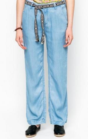 Прямые синие брюки с поясом Maison Scotch. Цвет: синий