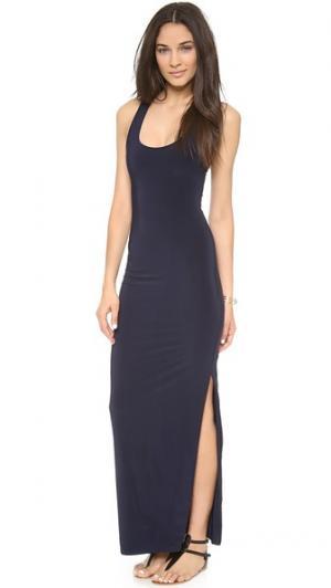 Макси-платье со спиной-борцовкой и разрезом Tbags Los Angeles. Цвет: темно-синий
