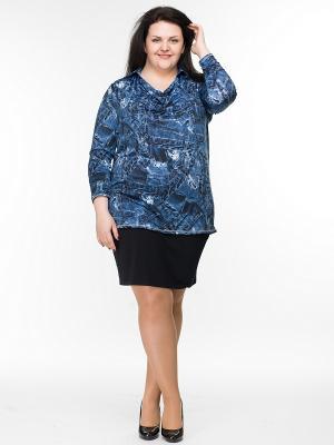 Блузка Pretty Woman. Цвет: темно-синий, белый, голубой