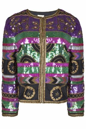 Шелковый жакет с вышивкой пайетками (80-е гг.) Leslie Fey. Цвет: пурпурный, зеленый, золотой