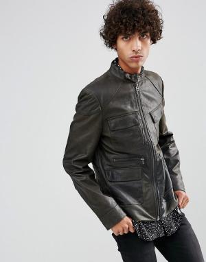 Goosecraft Кожаная куртка цвета хаки. Цвет: зеленый