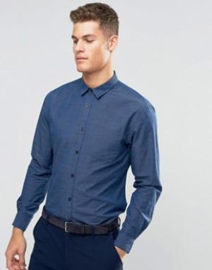Silver Eight Строгая синяя рубашка добби. Цвет: синий