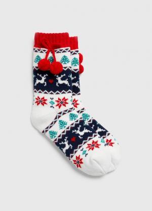 Жаккардовые носки с новогодним рисунком OSTIN. Цвет: молочный