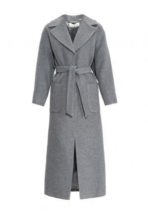 Пальто с поясом 155665 Laroom. Цвет: серый