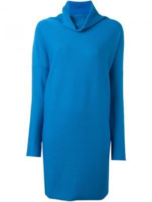 Платье с высоким воротом Daniela Gregis. Цвет: синий