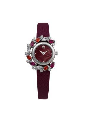 Ювелирный часовой комплект коллекция willQwill, завод Ника, QWILL. Цвет: бордовый