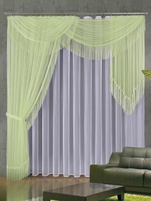 Шторы Ода Wisan. Цвет: светло-зеленый, белый