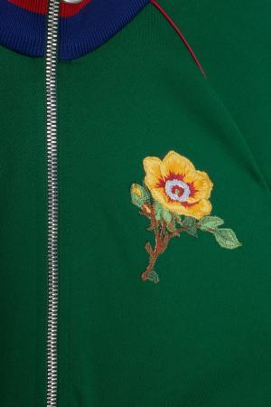 Олимпийка с вышивкой Gucci. Цвет: зеленый