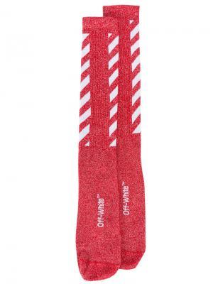 Ребристые носки в диагональную полоску Off-White. Цвет: красный