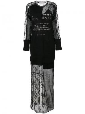 Длинное платье с кружевом McQ Alexander McQueen. Цвет: чёрный