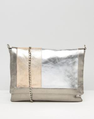 Urbancode Серая кожаная сумка колор блок. Цвет: мульти