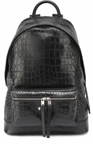 Кожаный рюкзак с тиснением под крокодила Balenciaga. Цвет: черный