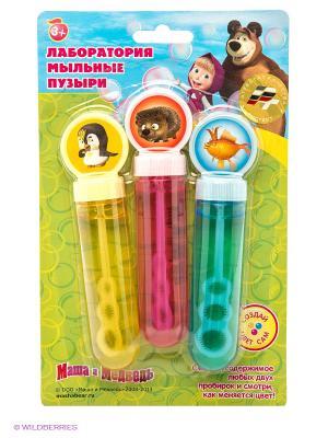 Набор мыльных пузырей Маша и Медведь Играем вместе. Цвет: голубой, розовый, желтый