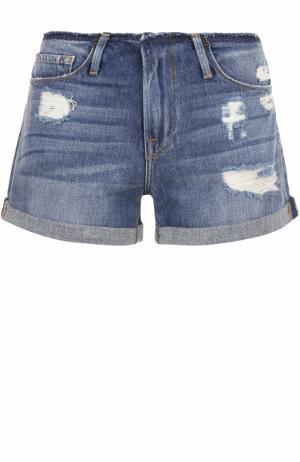 Джинсовые мини-шорты с потертостями Frame Denim. Цвет: синий