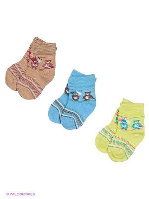 Носки 3 пары Master Socks. Цвет: голубой, бежевый, салатовый