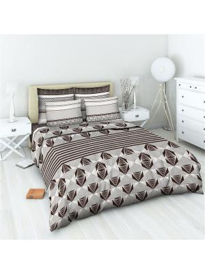 Комплект постельного белья 2 спальный Василиса. Цвет: серый, коричневый